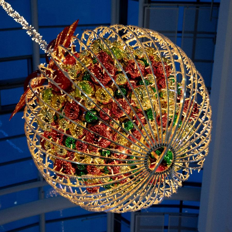 Christmas decorations at White Rose – Giant Bauble