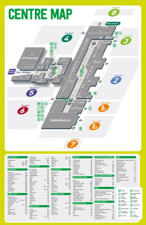 Centre Map   White Rose Shopping Centre